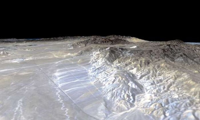 Vista em perspectiva da falha Garlock (NASA)