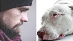 Homem desconsolado se despede de seu cachorro moribundo, eles viveram juntos por 14 anos