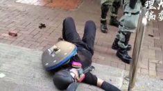 Manifestante de Hong Kong recibe un disparo en vivo durante protestas en el 70° aniversario del PCCh