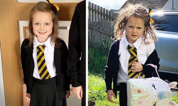 Lucie antes y después de ir a la escuela