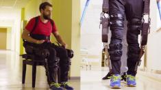 Hombre paralítico logra caminar a través de un robot esquelético que controla con la mente