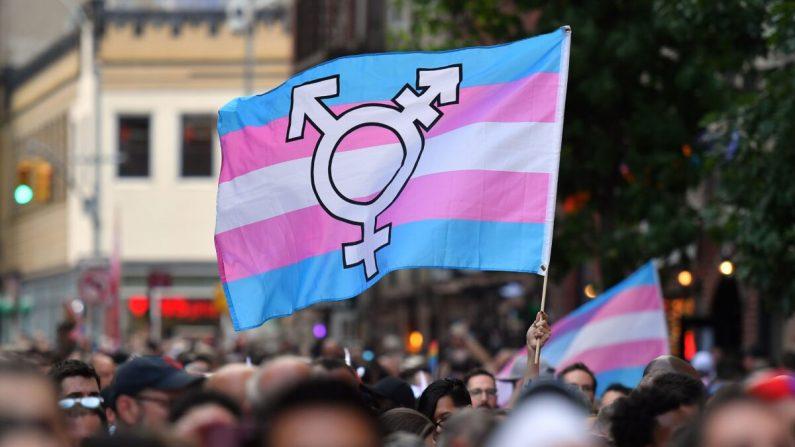 Una persona sostiene una bandera de orgullo transgénero. (ANGELA WEISS/AFP/Getty Images)