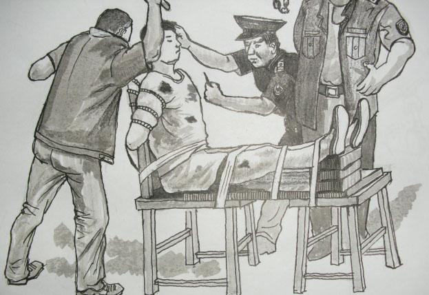 dibujo: método de tortura en prisiones chinas el banco de tigre