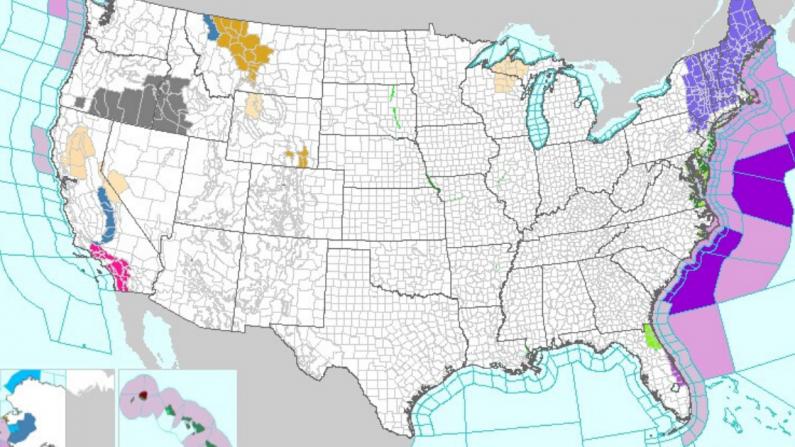 Captura de pantalla del 17 de noviembre tomada del National Weather Service donde se aprecia la tormenta costera en los estados del Norte del país.  (https://www.weather.gov/)