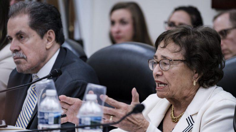 La presidenta del comité, Nita Lowey (D-NY), y el director de la Oficina del Censo, Steven Dillingham, en Washington el 30 de abril de 2019. (Pete Marovich/Getty Images)