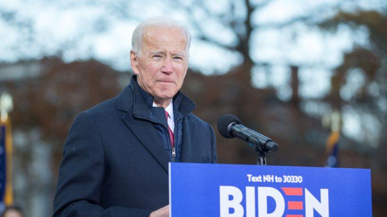 El candidato presidencial demócrata, el ex vicepresidente Joe Biden, habla durante un acto público el 8 de noviembre de 2019 en Concord, New Hampshire (Eisen/Getty Images)