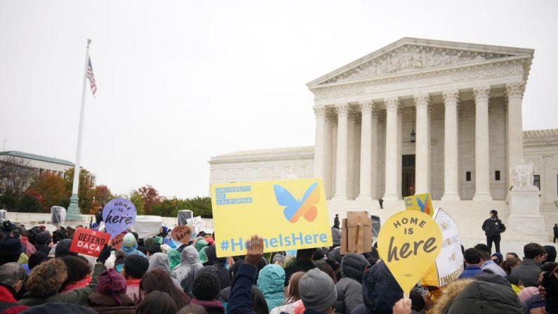 Activistas por los derechos de inmigración participan en una manifestación frente a la Corte Suprema de los Estados Unidos en Washington, DC, el 12 de noviembre de 2019. (Foto de MANDEL NGAN/Getty Images)