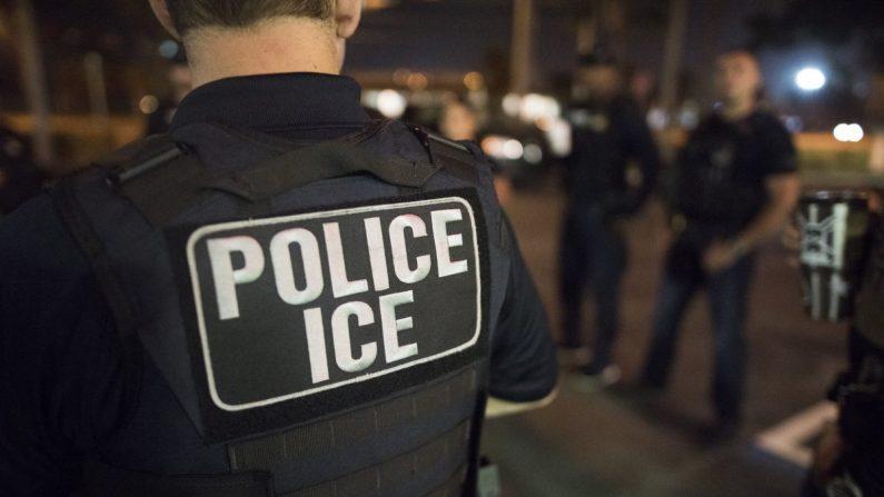 Agentes del Servicio de Inmigración y Control de Aduanas trabajando en una fotografía de archivo. (ICE)