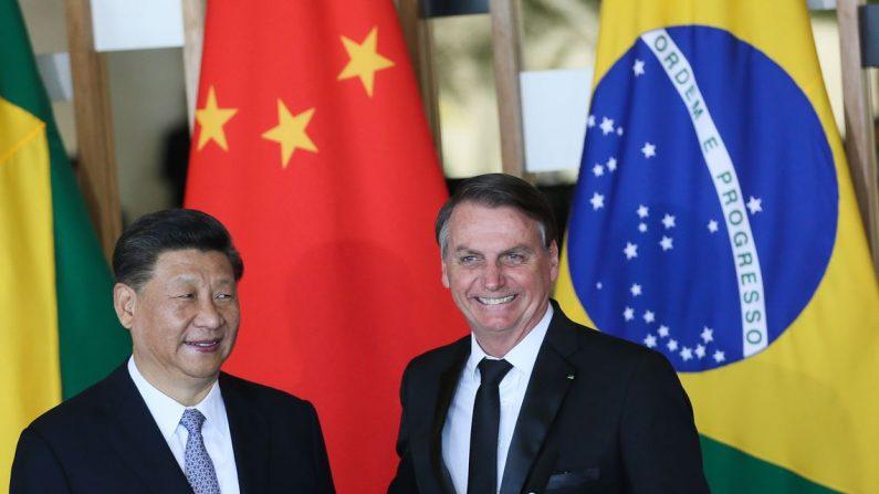 O presidente da República Popular da China, Xi Jinping e o presidente Jair Bolsonaro, durante declaração à imprensa no Palácio do Itamaraty, em Brasília (Valter Campanato/Agência Brasil)