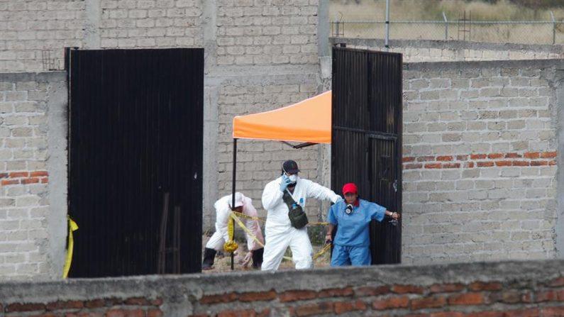 Peritos forenses y elementos de la Fiscalía General del Estado recaban información este miércoles, en una fosa clandestina en el municipio de Tlajomulco, en el estado de Jalisco (México). EFE/ Francisco Guasco