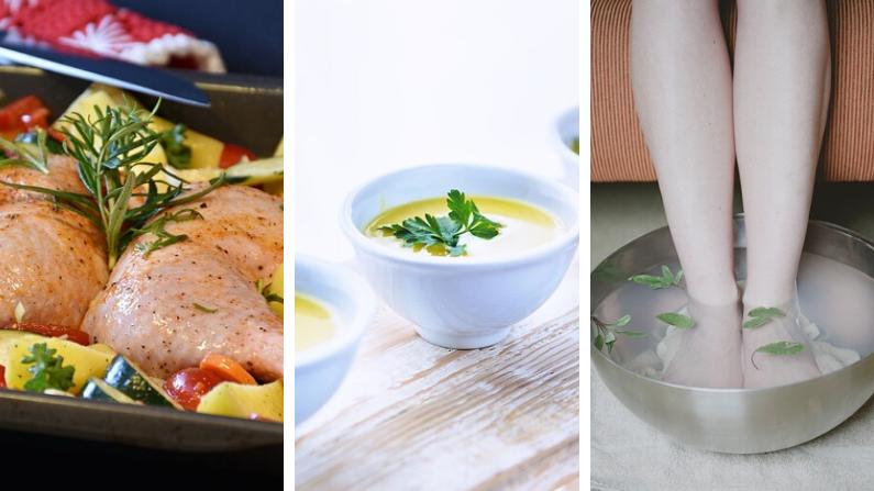Delicioso pollo al horno rociado de romero/RitaE/Pixabay| Crema de perejil/Karolina Grabowska/Pixabay|Baños de salvia/graceie/Pixabay)