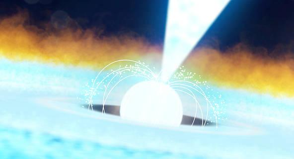 La imagen muestra cómo los astrónomos piensan que ocurrió una explosión termonuclear de un púlsar llamado J1808 el 20 de agosto.  Esta resultó ser la explosión más brillante de rayos X vista hasta la fecha por el telescopio NICER (Neutron star Interior Composition Explorer) de la NASA. Liberó tanta energía en 20 segundos como nuestro Sol en casi 10 días.  (Créditos: Centro de Vuelos Espaciales Goddard de la NASA)