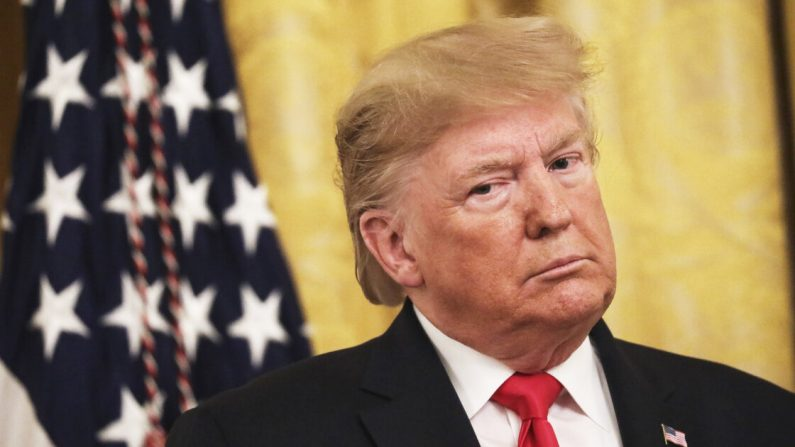 El presidente Donald Trump en un evento sobre confirmaciones judiciales en la Sala Este de la Casa Blanca en Washington el 6 de noviembre de 2019. (Drew Angerer/Getty Images)