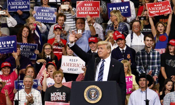 """El presidente Donald Trump en su mitin """"Hagamos que América vuelva a ser grande"""" en Billings, Montana, 6 de septiembre de 2018. (Charlotte Cuthbertson/The Epoch Times)"""