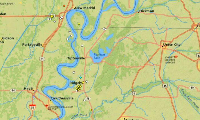 Una serie de 16 sismos consecutivos de una magnitud de hasta 2.1 sacudieron una pequeña ciudad de Tennessee en tan solo tres días. (Cortesía de U.S. Geological Survey)