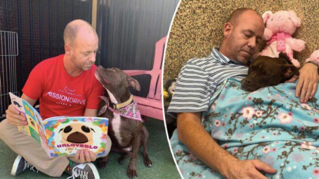Voluntario de refugio canino se muda a la perrera con un perro solitario que nadie quiere adoptar