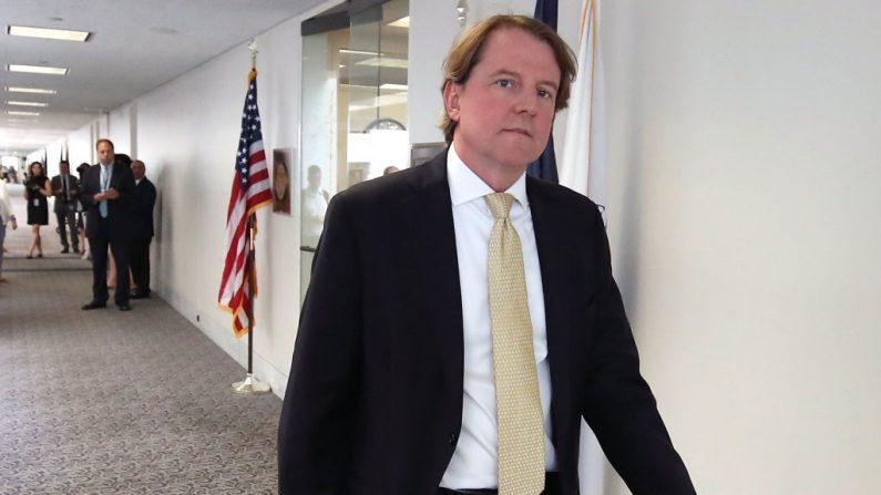 El abogado de la Casa Blanca, Don McGahn, el 15 de agosto de 2018 en Washington, DC - foto de archivo  (Mark Wilson/Getty Images)