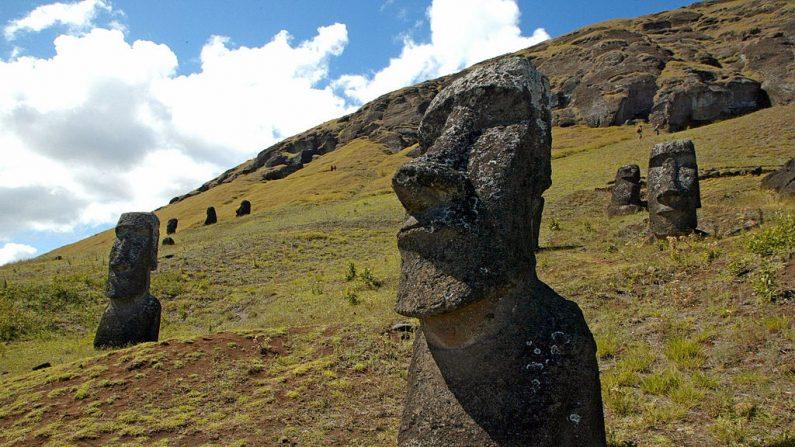 Foto de algunas de las 390 enormes moais en la ladera del volcán Rano Raraku en la Isla de Pascua, a 3700 km de la costa de Chile, en una imagen de archivo del 12 de febrero de 2005. La isla chilena, situada en el archipiélago de la Polinesia, tiene muchos sitios arqueológicos y su Parque Nacional Rapa Nui está incluido en la lista del Patrimonio Mundial de la UNESCO desde 1995. (MARTIN BERNETTI/AFP a través de Getty Images)