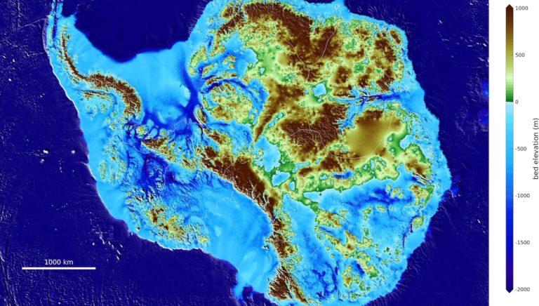 Mapa de los contornos y profundidades de la Antártida del proyecto de investigación BedMachine liderado por la Universidad de California Irvine (UCI) - 12 de diciembre de 2019. Gentileza de UCI.(Créditos: Mathieu Morlighem /UCI)