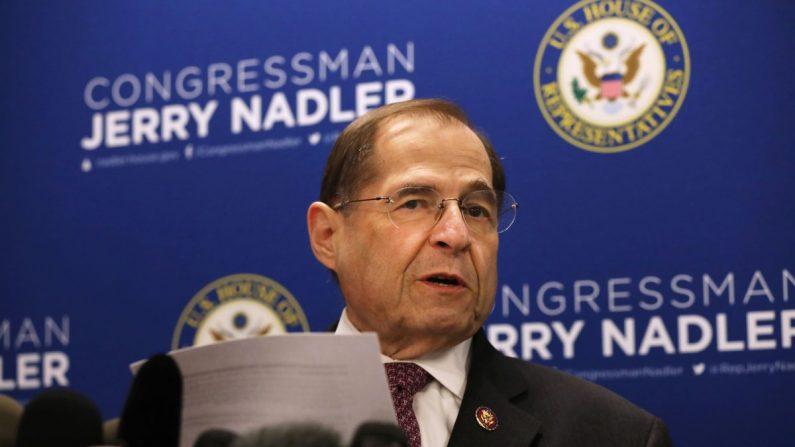 El presidente del Comité Judicial de la Cámara de Representantes, Jerrold Nadler (D-N.Y.), celebra una conferencia de prensa en la ciudad de Nueva York el 18 de abril de 2019. (Spencer Platt/Getty Images)