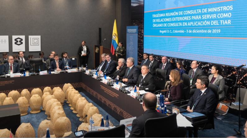 Trigésima reunión de consulta de Ministros de Relaciones Exteriores, el 3 de diciembre, para la aplicación del Tratado Interamericano de Asistencia Recíproca (TIAR) en favor de Venezuela, el 3 de diciembre de 2019. (OEA)
