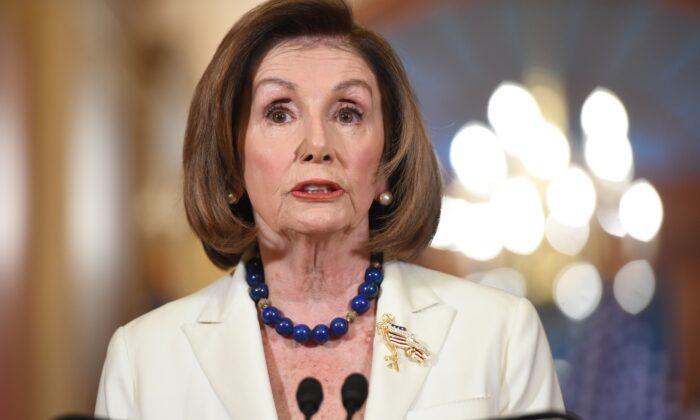 Presidente de la Cámara de Representantes, Nancy Pelosi (D-Calif.), habla en una conferencia de prensa en Washington el 5 de diciembre de 2019. (Saul Loeb / AFP a través de Getty Images)