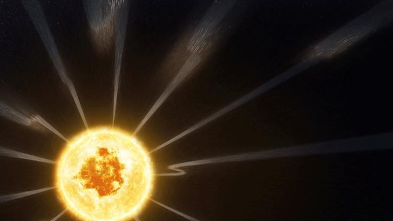 Flujo constante del viento solar impulsado a cambiar de dirección por la rotación solar. La sonda solar Parker reveló un flujo constante de viento solar lento que sale desde un pequeño agujero coronal en esta imagen capturada por el Observatorio de Dinámica Solar de la NASA - el 27 de octubre de 2018. Aunque los científicos saben desde hace mucho tiempo que las corrientes de viento solar rápido fluyen desde los agujeros coronales cerca de los polos, aún no han identificado de manera concluyente la fuente del lento viento solar del Sol. (NASA/Captura de vídeo)