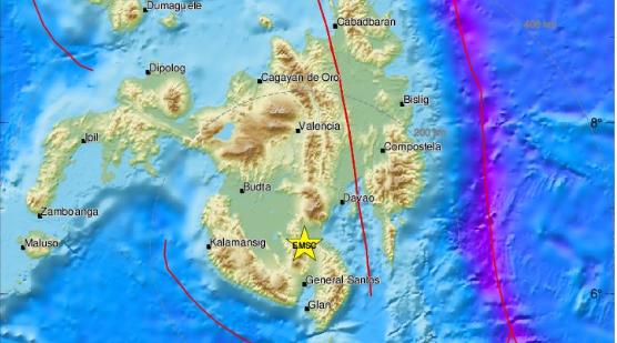 Terremoto en Filipinas el 15 de diciembre a las 13:11, hora local. El epicentro se registró en la isla Mindanao. (Imagen del Servicio Sismlógico Europeo y Mediterráneo-CSEM)