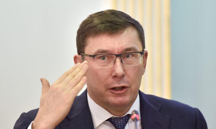 El Fiscal General de Ucrania, Yuriy Lutsenko, da una conferencia de prensa en Kiev sobre las próximas elecciones presidenciales del 31 de marzo en el país el 12 de marzo de 2019. (Sergei Supinsky/AFP vía Getty Images)