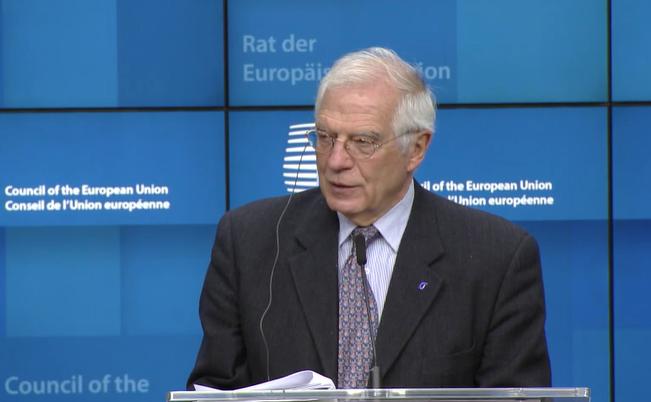 El recién nombrado en la Comisión Europea como Alto Representante / Vicepresidente Josep Borrell, en una conferencia de prensa en Bruselas el 9 de diciembre. (Captura de imagen pública/Consejo Europeo)