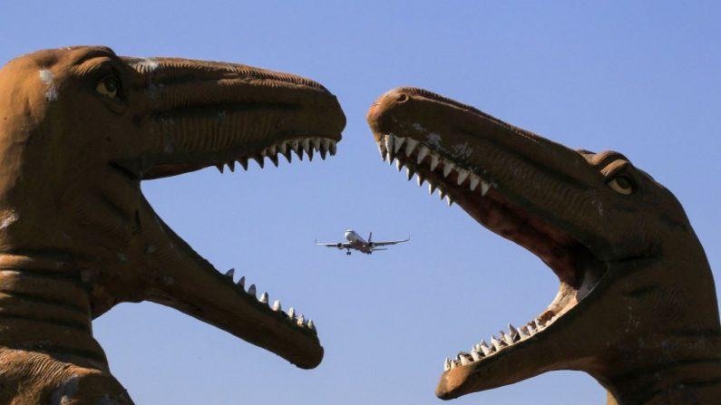 Uma aeronave sobrevoa as esculturas de dinossauros no parque 'Valley of Animals' em Chandigarh em 9 de novembro de 2019 (Foto: VIJAY MATHUR / AFP via Getty Images)