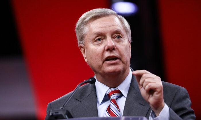 Senador Lindsey Graham (R-S.C.) en la convención CPAC en National Harbor, Maryland, el 28 de febrero de 2019. (Samira Bouaou / The Epoch Times)