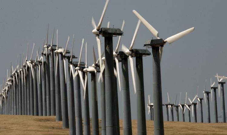 Filas de turbinas eólicas en el parque eólico Altamont Pass en Byron, California. (Justin Sullivan / Getty Images)