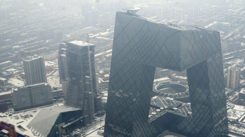 La sede de la Red Global de Televisión de China (entonces llamada Televisión Central de China) en Beijing el 26 de febrero de 2011. CGTN, que es un agente extranjero registrado en los Estados Unidos, ha sido elegido para publicitar el Censo de los Estados Unidos. (STR/AFP via Getty Images)