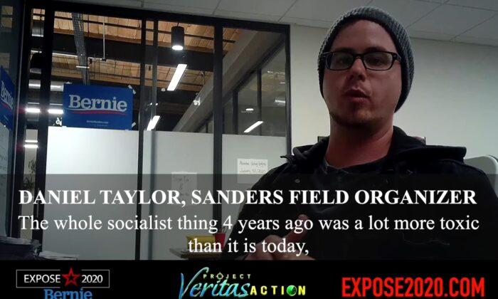 Daniel Taylor, organizador de campo para la campaña del senador Bernie Sanders (I-Vt.) fue captado por la cámara oculta de Project Veritas Action. (Captura de pantalla vía Youtube/Project Veritas Action)