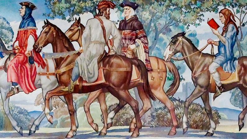 """Un mural de 1939 de la peregrinación que se encuentra en """"The Canterbury Tales"""". (Biblioteca del Congreso)"""