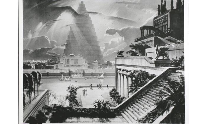 La ciudad de Babilonia, con la Torre de Babel a lo lejos, y una de las Siete Maravillas de la antigüedad, los Jardines Colgantes, se muestra en esta re-construcción del artista Mario Larrinaga. Construido por el rey Nabucodonosor para complacer a una de sus esposas, se muestra mediante esta pintura de Cinerama, Babilonia. (Archivo Hulton/GettyImages)
