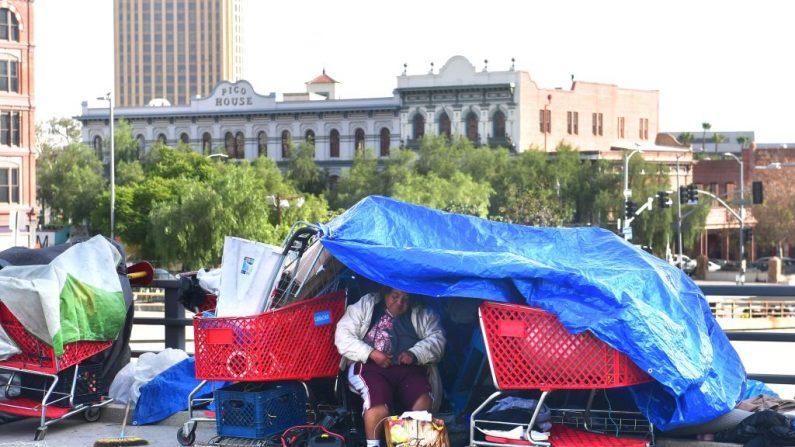 Las lonas cubren una tienda de campaña para los desamparados en Los Ángeles, California el 17 de diciembre de 2019.   (FREDERIC J. BROWN/AFP via Getty Images)