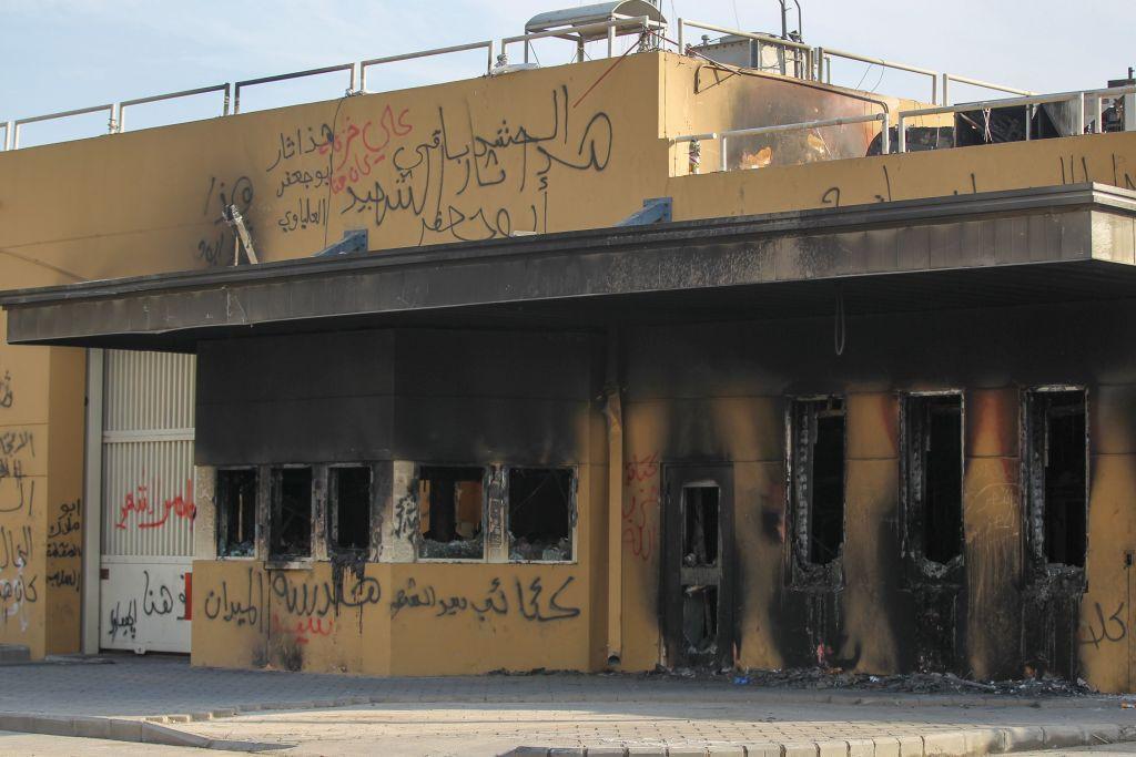 Entrada de embajada estadounidense en Bagdad 2 de Enero 2020