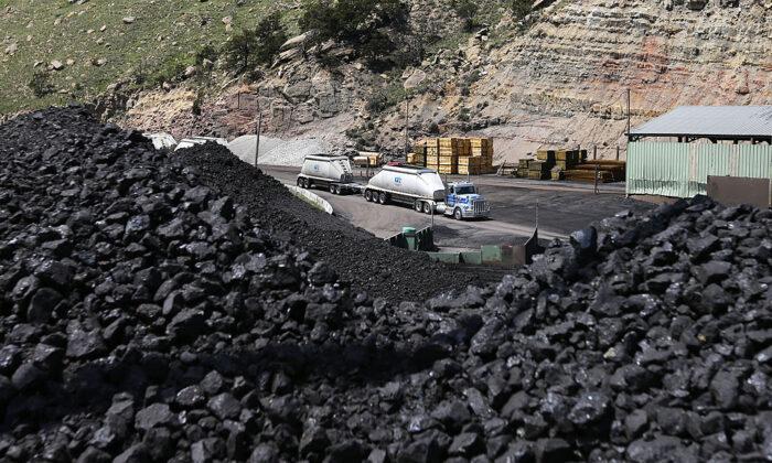 Pilas de carbón en espera ser cargadas en camiones en la Mina de Carbón Sufco, 30 millas al este de Salina, Utah, el 28 de mayo de 2014. Sufco es una de las cuatro minas operadas por Wolverine Fuels, una compañía que ha amenazado con demandar a la ciudad de Richmond, California, si impone una prohibición de carbón que cortaría un importante puerto de exportación para Wolverine. (George Frey/Getty Images)