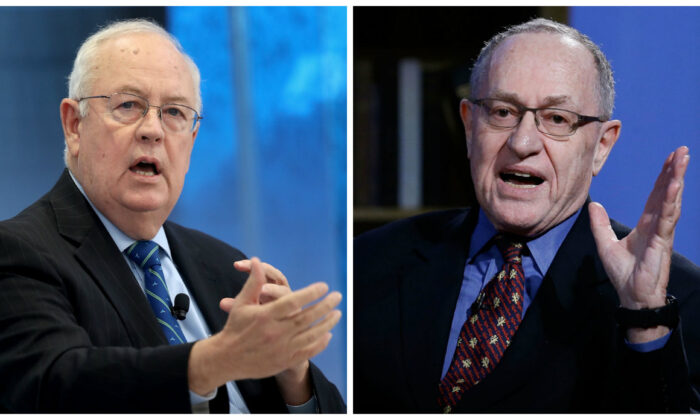 (Izq) El exabogado independiente Ken Starr (Win McNamee / Getty Images) y (Der) el abogado Alan Dershowitz, en imágenes de archivo. (John Lamparski / Getty Images para Hulu)