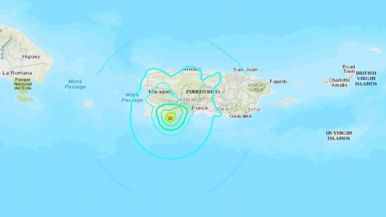 Un mapa que muestra la ubicación del terremoto del 10 de enero en la costa de Puerto Rico. (USGS)