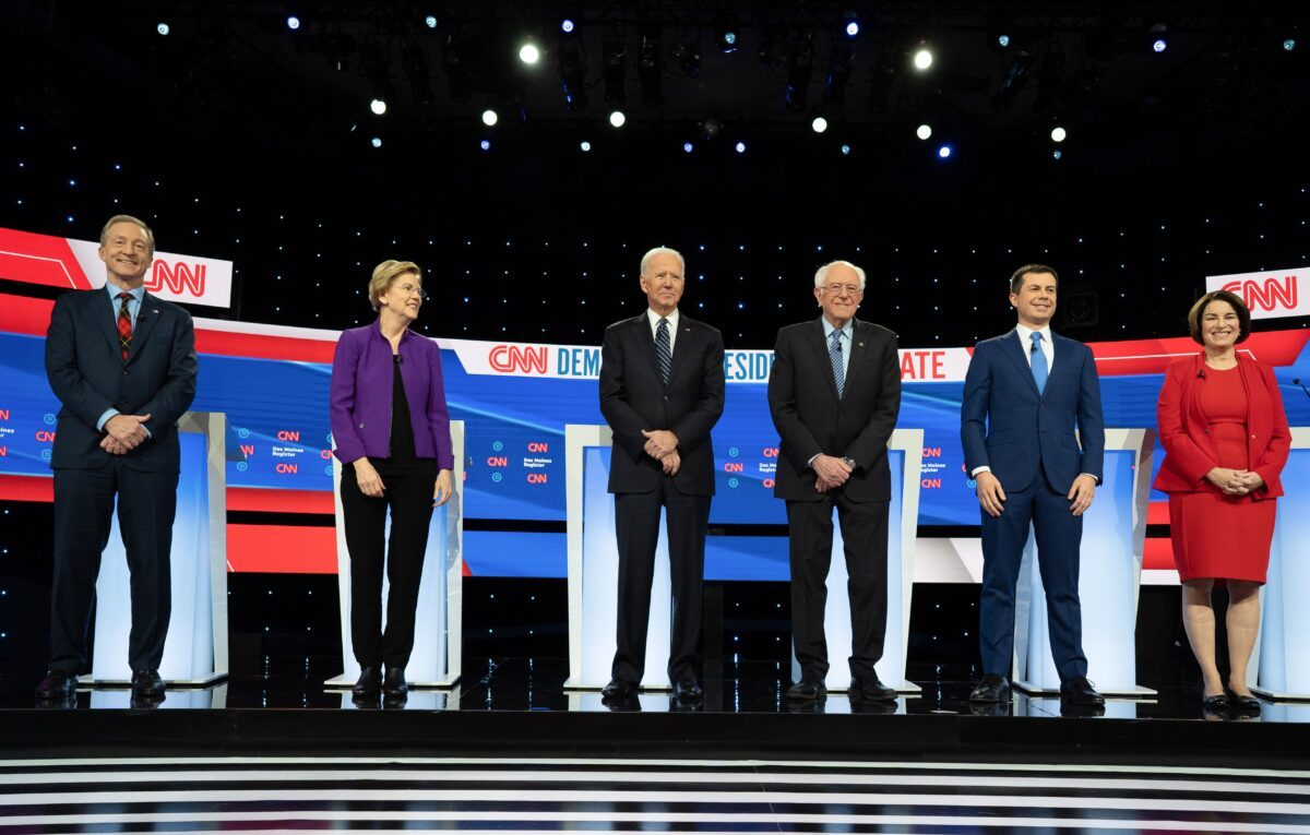 candidatos en el debate de las primarias demócratas de la temporada de la campaña presidencial de 2020