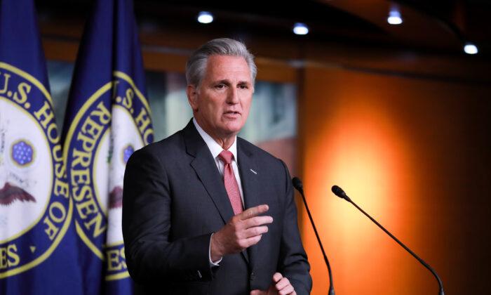 El líder de la minoría en la Cámara de Representantes Kevin McCarthy (R-Calif.) en una conferencia de prensa en el Capitolio de Washington el 9 de enero de 2020. (Charlotte Cuthbertson/The Epoch Times)