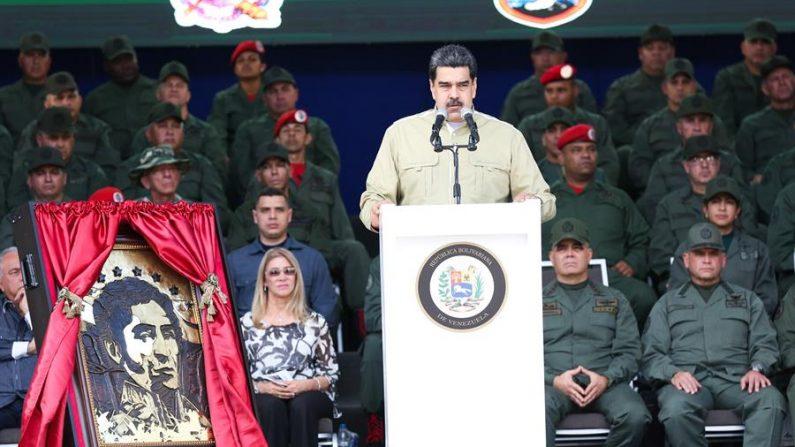 Foto cedida pela assessoria de imprensa de Miraflores mostra o ditador da Venezuela, Nicolás Maduro, durante uma cerimônia com as Forças Armadas em 28 de dezembro de 2019 (EFE / Cortesia Palacio de Miraflores)