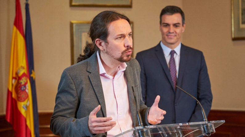 Pablo Iglesias habla durante una conferencia de prensa el 12 de noviembre de 2019 en Madrid, España. (Xaume Olleros/Getty Images)