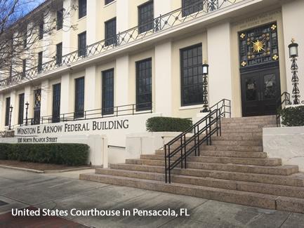 Corte de Justicia en Pensacola, Florida. (Departamento de Justicia de EE.UU.)