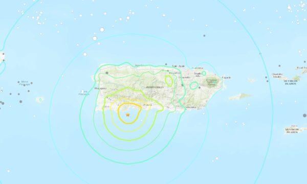 Un mapa que muestra la ubicación del terremoto frente a la costa de Puerto Rico el 7 de enero de 2020. (USGS)