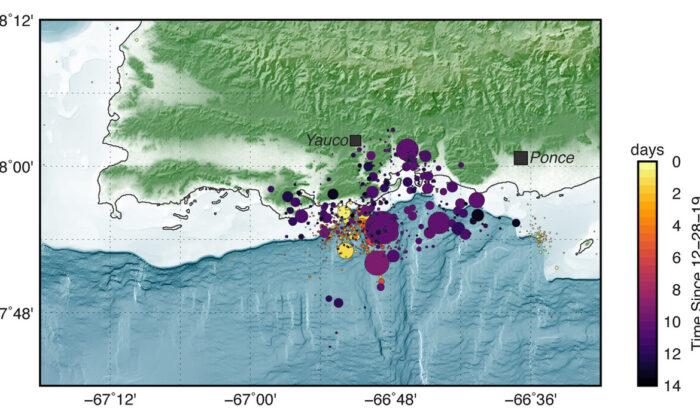 Más de 500 terremotos de magnitud 2 o más han sacudido a Puerto Rico desde que un terremoto de magnitud 4.7 golpeó la isla a finales de diciembre. (USGS)