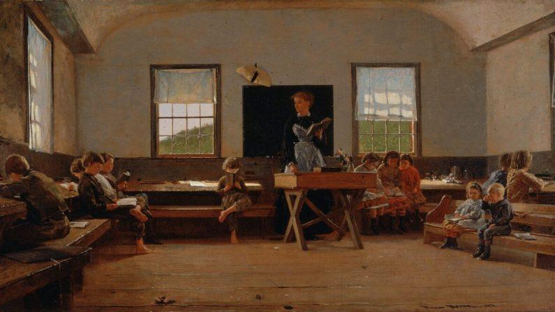 """En una época, el componente crucial en la educación fue formar el carácter del niño. """"The Country School"""", 1871, de Winslow Homer. Museo de Arte St. Louis. (Dominio publico)"""